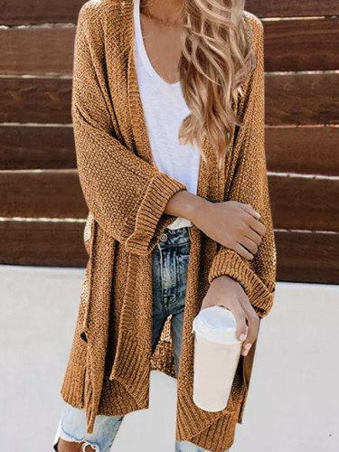 Autumn Winter New Women Casual Long Cardigan Fashion Korean Slim Pocket Loose Knit Sweater Outwear Coat