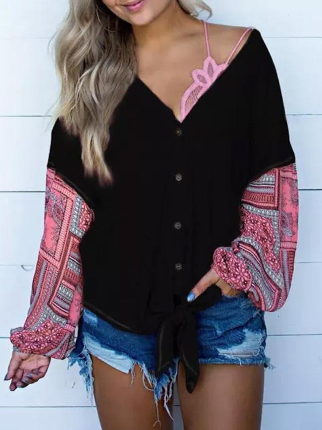 Sweater Women Ladies Autumn Print Stitching Long-Sleeved Knit Cardigan Top