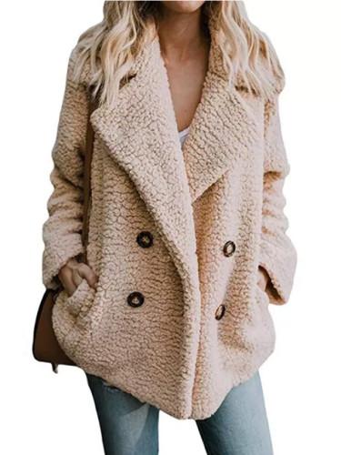 Winter Women Suit Collar Buttons Pockets Thick Woolen Coats