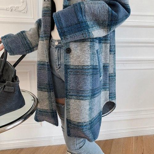 Woolen Women Plaid coat Autumn Winter New Long Sleeve