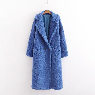Autumn Winter Women Beige Coat Stylish Thick Warm Cashmere Jacket
