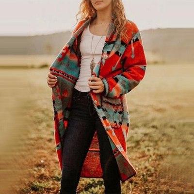 Women Fashion Long Sleeve Flower Print Folk-custom Pocket Casual Long Outwear