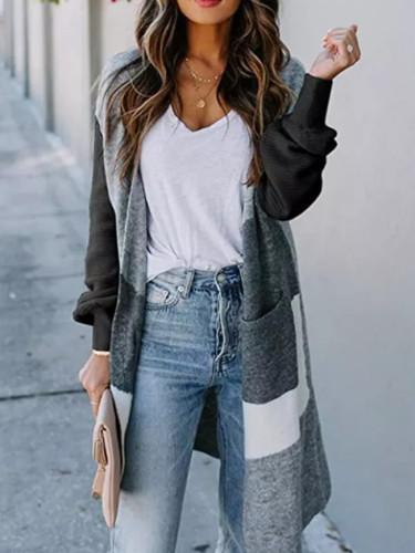 Autumn Women Sweater Striped Color Block Draped Loose Cardigan Fashion Long Sleeve Casual Knit Sweater Coat