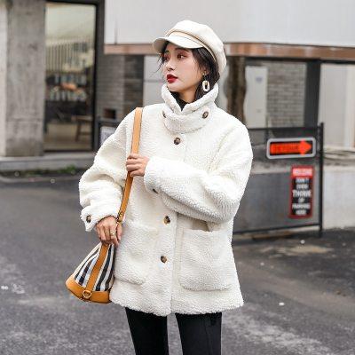 Faux Fur Fleece Button Oversized Thick Warm Pink Coat