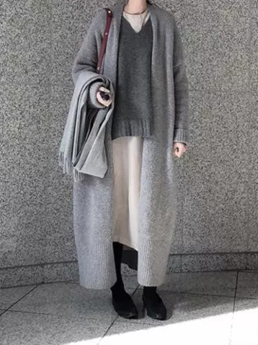 Autumn winter long knitwear simple solid color long sleeve coat loose casual sweater