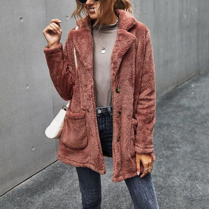 Women Solid Pocket Fleece Long Sleeves Cardigan Button Keep Warm Coat