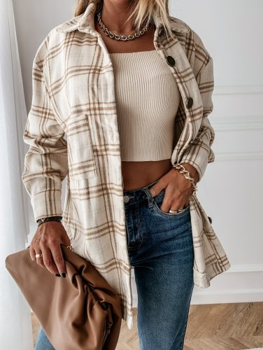 Women Long Sleeve Plaid Jacket Autumn Winter Coat  Fashion Loose Vintage Elegant Top