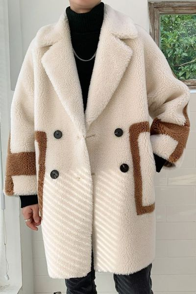 Popular  Lamb Hair Hit Color Thick Mid-length Cotton Coat
