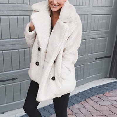Winter Women Suit Collar Buttons Pockets Thick Woolen Coats