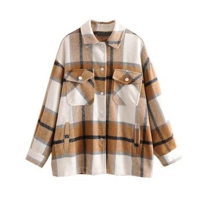 Long Sleeve Women Coats Vintage Green Plaid Autumn Winter Warm Jacket