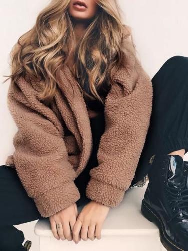 Elegant Faux Fur Coat Women Autumn Winter Warm Jacket Plush Overcoat Pocket Casual Teddy Outwear
