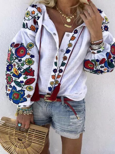 Women Lantern Sleeve Floral Ethnic style Embroidered  Tops