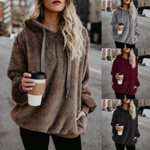 Winter Hoodies Warm plush Zipper Fur Coat Winter Coat