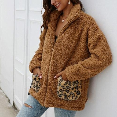 New Winter Warm Coat Women Leopard Print Fleece