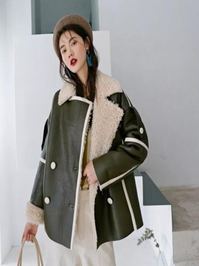 Winter Double-breasted Loose Lamb-like Thick Fur Women's Coat