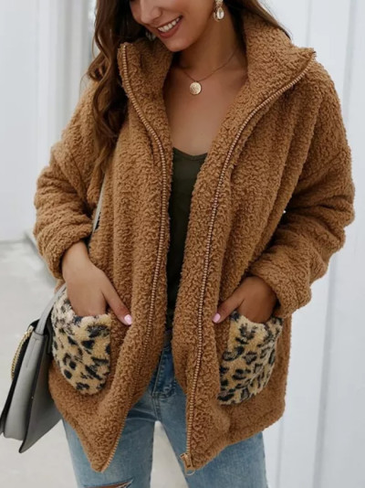 New Winter Warm Coat Women Leopard Print Fleece