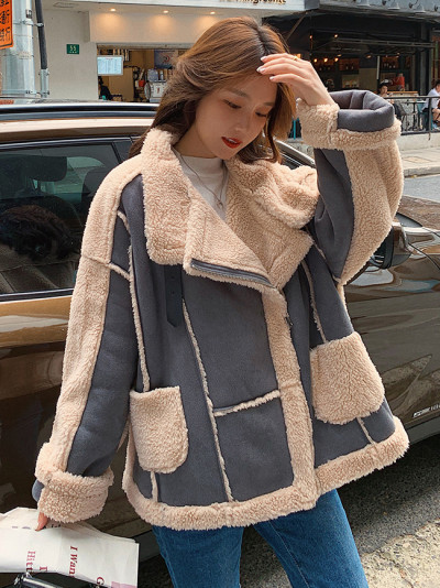 New Suede Stitching Lamb Hair Warm Fashion  Lapel Thick Loose Jacket