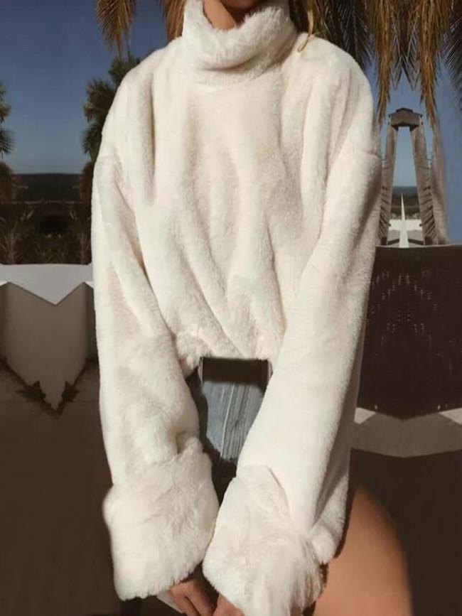 Turtleneck Soft Plush Autumn Winter Casual Sweater