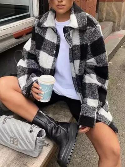 Long Sleeve Black And White Plaid Blended Soft Tweed Pocket Shirt Coat