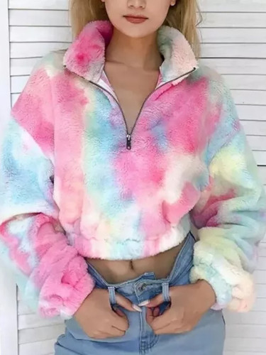 Casual Warm Soft Zipper Fur Jacket Plush Overcoat