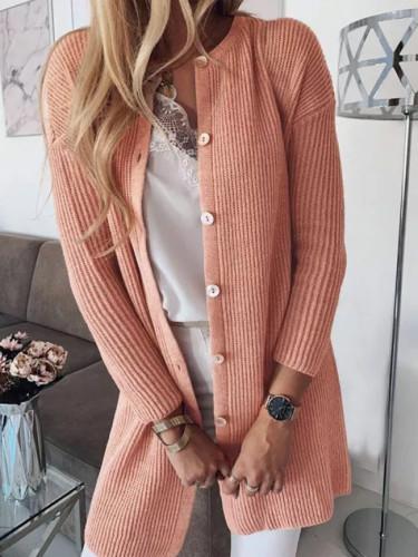Knit Cardigan Solid Long Sleeve Sweater Women