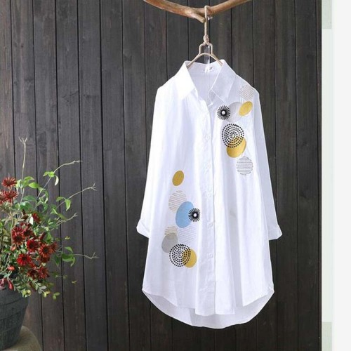 New Cotton Casual Wear Button Up Turn Down Collar Blouse Embroidery