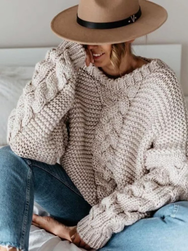 Women Winter Warm Casual V Neck Long Sleeve Solid Knitted Sweater