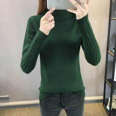 Turtleneck Long Sleeve Slim Elastic Short Sweater
