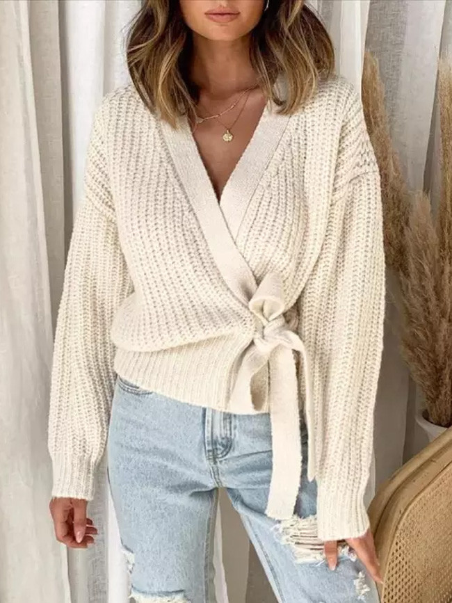 Women's Fall Winter Fashion Casual V-neck Lace Knit Sweater Pullover Short Sweater