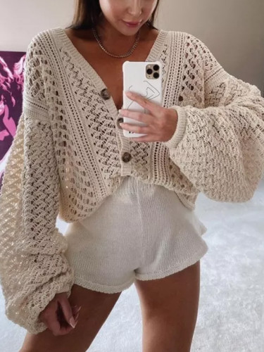 V-Neck cardigan women knitwear Long Sleeve cropped Loose Basic Sweaters Outerwear Jumpers