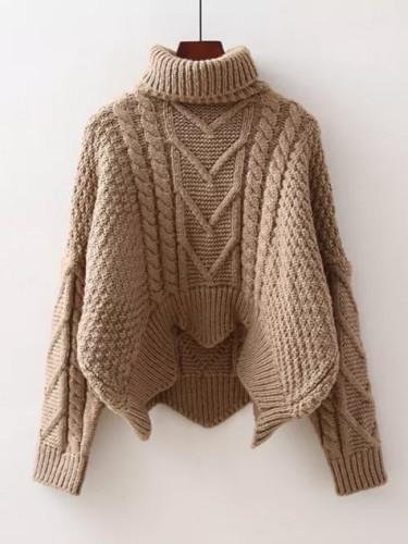 Autumn Winter Thicken Turtleneck Women Knitting Sweater Tops