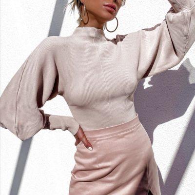 Fashion Turtleneck Women Casual Solid High-necked Long Lantern Sleeve Sweater