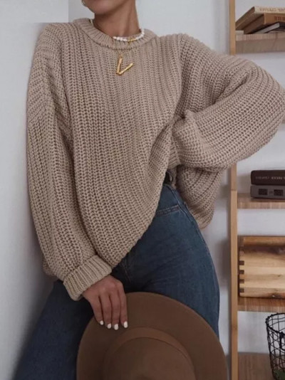 Autumn Women Solid  Elegant O-neck Loose Female Knitted Sweater