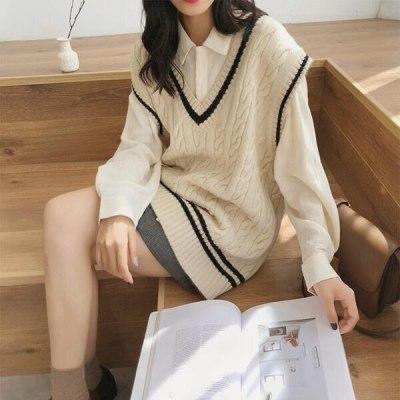 Knit Sweater Vest V-necked Sleeveless Jumper Outwear Fall Winter