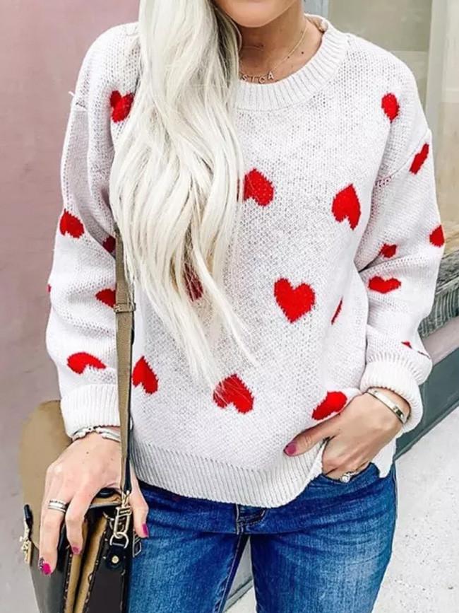 Sweater Women O-Neck Knitwear Heart Shape Pullover