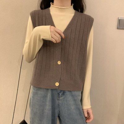 Vintage  Knitted Vest Sweater Women Sleeveless Pullover Elasticity Sweater