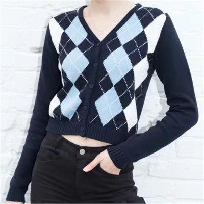 Women Geometric Pattern Slim V-Neck England Long Sleeve Outerwear
