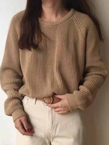 Fashion Ladies Full Sleeve Autumn Loose Solid O-Neck Knitting Sweater