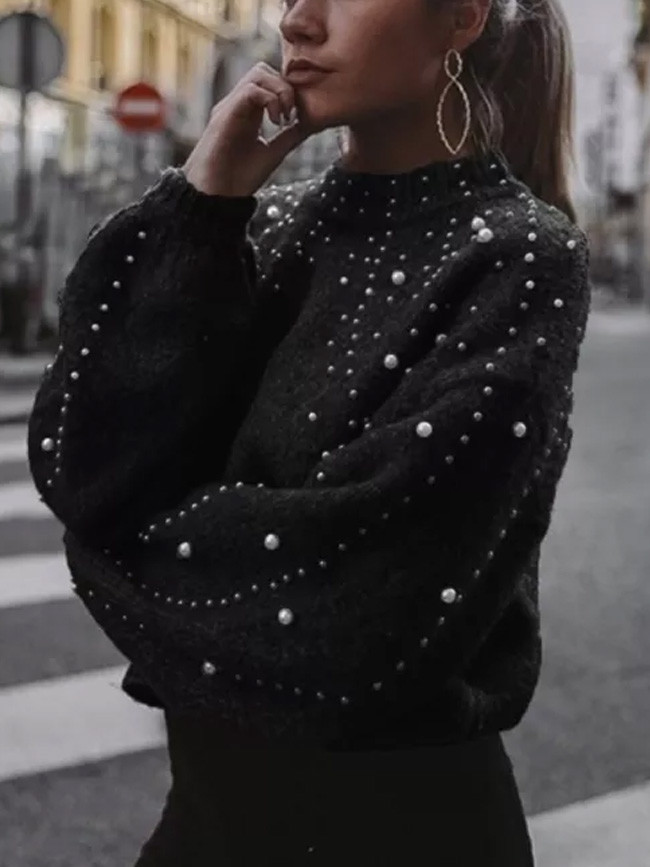 Winter Clothes Women Turtleneck Sweater Pearl Long Sleeve Pullover Sweater Jerseys