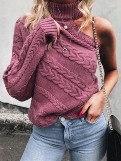 Trendy Women clothes Long Sleeve Knitted One Shoulder Sweater