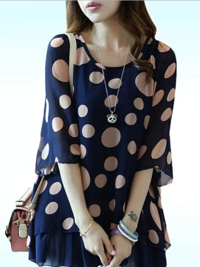 Sweet Ruffles Office Wear Polka Dot Chiffon Blouse Tops