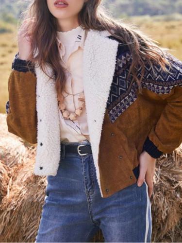 Ladies Autumn Double-Breasted Corduroy Vintage Print Coat