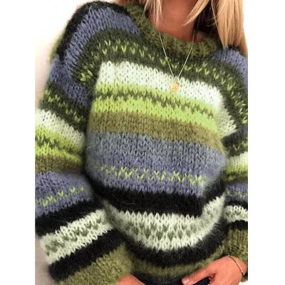 Fashion Autumn Winter O-neck Long-sleeved Color Matching Wild Warm Loose Casual Sweater Ladies