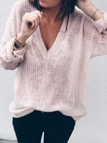 Baggy Knitted Woman  Long Sleeve Solid Color Sweaters