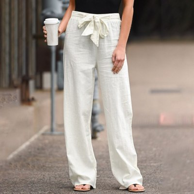 Wide Leg Pants For Women Cotton Linen Casual Elastic Waist Loose Long Trousers
