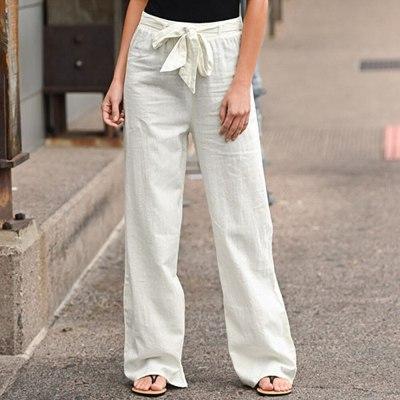 Wide Leg Pants For Women Cotton Linen Casual Elastic Waist Loose Long Trousers