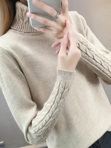 Turtleneck Long Sleeve Slim Elastic Short Sweater