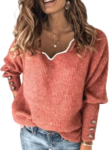 Casual Knitting Autumn New Solid Color Pullover Jumper With Buttons