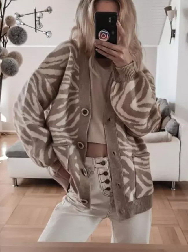 New Autumn Winter Leopard Cardigan Loose Female Knitted  Casual