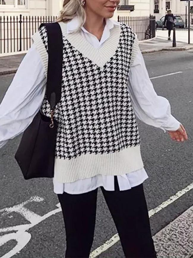 Autumn Knitted V-Neck Pullover Fashion Oversized Sleeveless Female Waistcoat